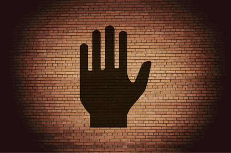Stop. hand. icon flat design with abstract background. photo