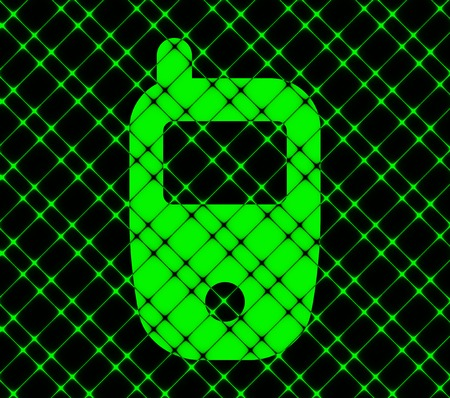 Mobile phone icon flat design with abstract background. photo