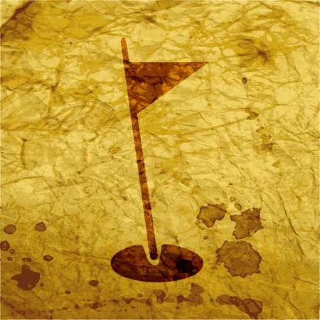 dimple: golf flag icon flat design with abstract background. Stock Photo