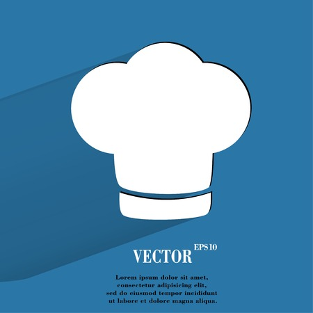 fine cuisine: Chef cap. Cooking Flat modern web button with long shadow and space for your text.