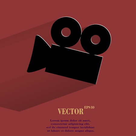 Video-camera. Flat modern web button with long shadow and space for your text. Illustration