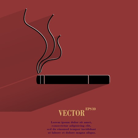 abstain: Smoking sign. cigarette Flat modern web button with long shadow and space for your text.  Illustration