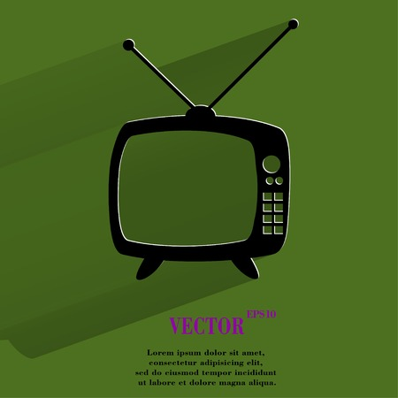 Retro tv. Flat modern web button with long shadow and space for your text. Vector