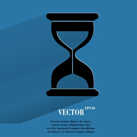Sand clock. Glass timer Flat modern web button with long shadow and space for your text.  Vector