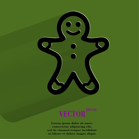 Gingerbread. Flat modern web button with long shadow and space for your text.  Illustration