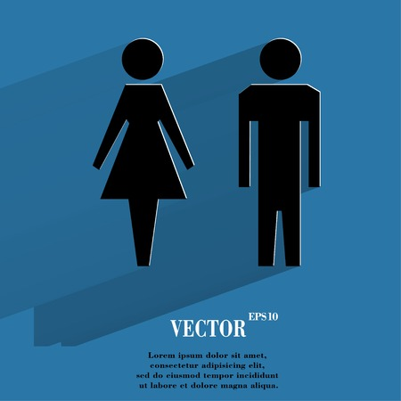 mannen en vrouwen: suluet mannen, vrouwen Vlakke moderne web knop met lange schaduw en ruimte voor uw tekst.