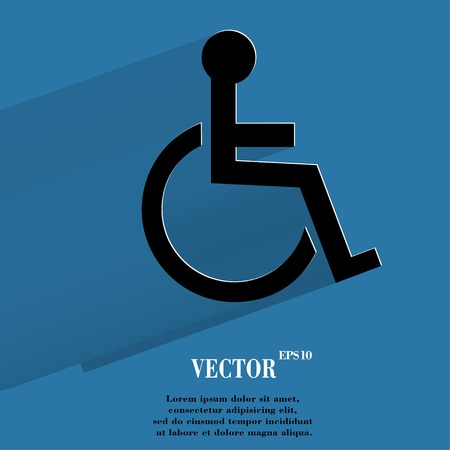 disabled. Flat modern web button with long shadow and space for your text. Vector