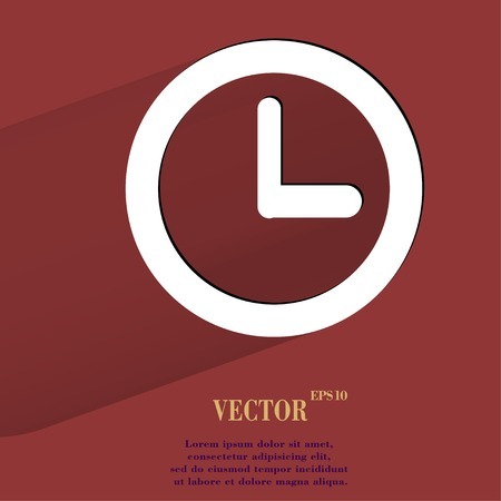 Watch. Flat modern web button with long shadow and space for your text.  Vector