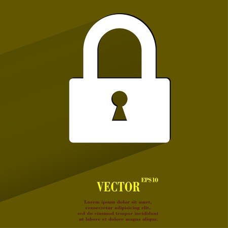 padlock. Flat modern web button with long shadow and space for your text. Vector