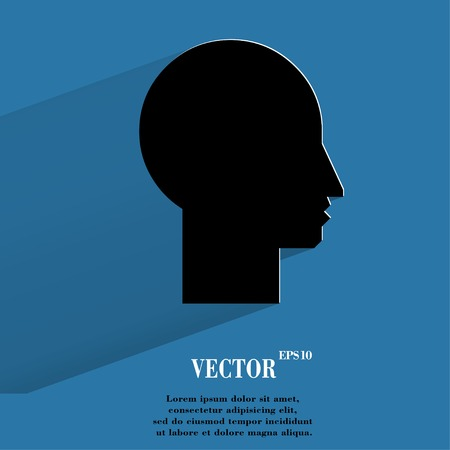 profile picture: Man silhouette profile picture. Flat modern web button with long shadow and space for your text.
