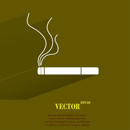 abstain: Smoking sign. cigarette Flat modern web button with long shadow and space for your text. Vector. EPS10 Illustration