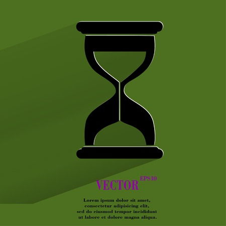 metering: Sand clock. Glass timer Flat modern web button with long shadow and space for your text. Vector.
