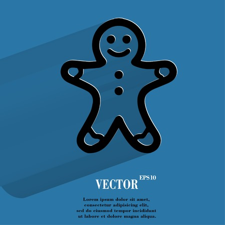 gingerbreadman: Gingerbread. Flat modern web button with long shadow and space for your text. Vector.