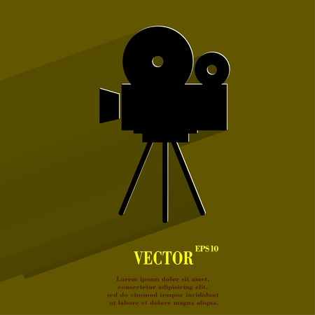 videocamera: Videocamera. Flat modern web button with long shadow and space for your text. Vector.
