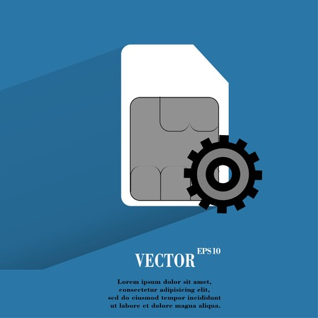 SIM card. Flat modern web button with long shadow and space for your text. Vector.  Vector