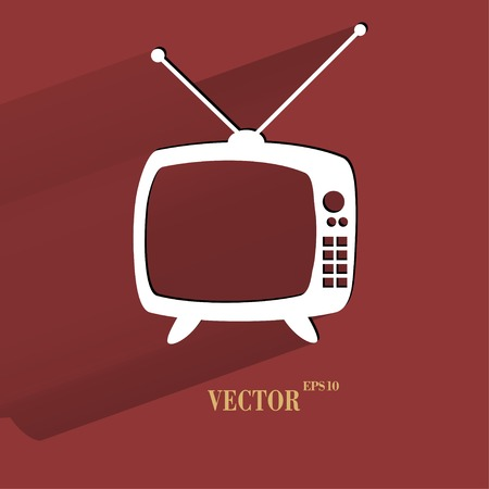 show case: Retro tv. Flat modern web button with long shadow and space for your text. Vector.
