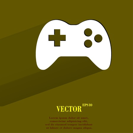 Gaming Joystick. Flat modern web button with long shadow and space for your text. Vector. Vector