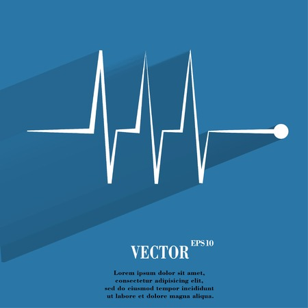 heart rhythm. Flat modern web button with long shadow and space for your text. Vector.  Vector