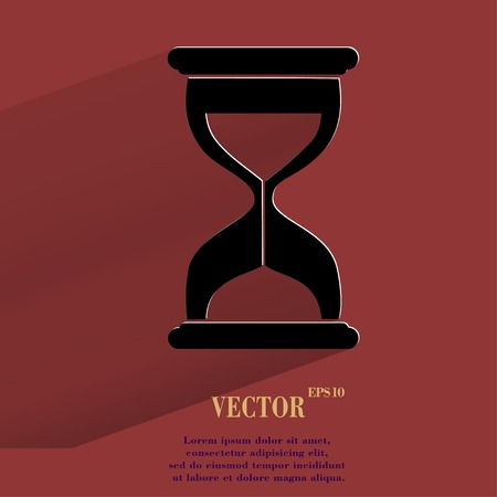 Sand clock. Glass timer Flat modern web button with long shadow and space for your text. Vector. Vector