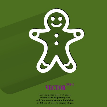 Gingerbread. Flat modern web button with long shadow and space for your text. Vector.