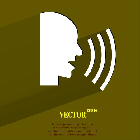 noisily: talking. Flat modern web button with long shadow and space for your text. Vector. Illustration