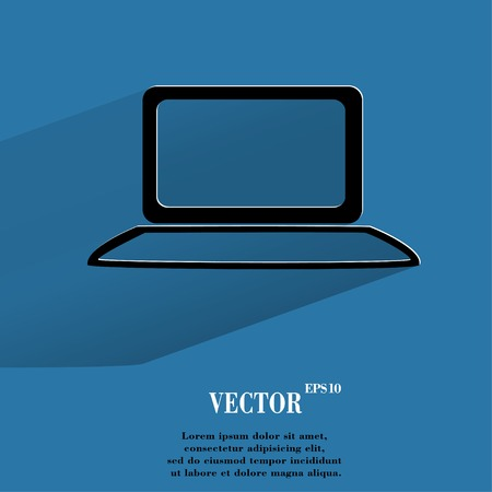 Notebook. Flat modern web button with long shadow and space for your text. Vector. Vector