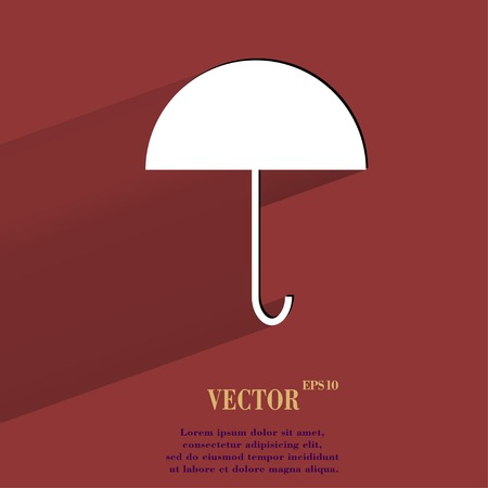 resistant: Umbrella. Flat modern web button with long shadow and space for your text. Vector. Illustration