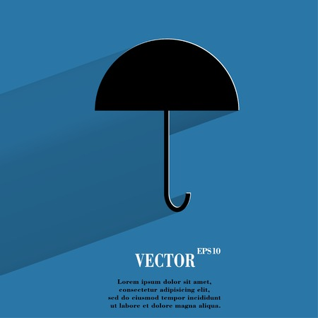 Umbrella. Flat modern web button with long shadow and space for your text. Vector. Vector