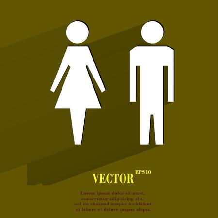 hommes et femmes: les hommes, les femmes suluet plat de boutons web moderne avec une longue ombre et espace pour votre texte. Vector.