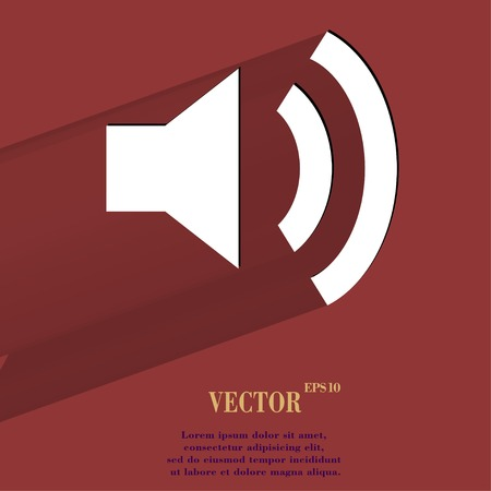 Speaker. Flat modern web button with long shadow and space for your text. Vector.  Vector