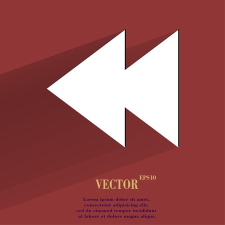 eject: multimedia control. Flat modern web button with long shadow and space for your text. Vector.