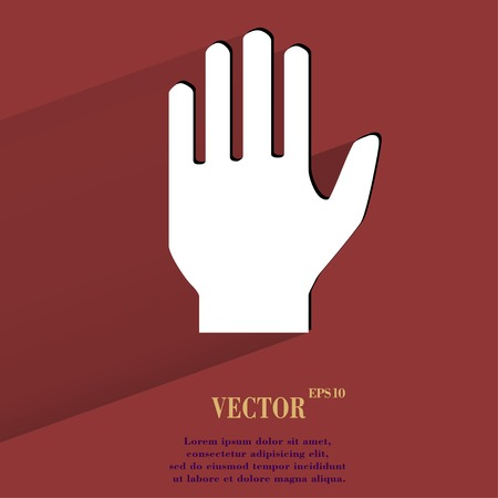 area restringida: Det�ngase. mano bot�n Flat web moderno con una larga sombra y el espacio para el texto. Vector.
