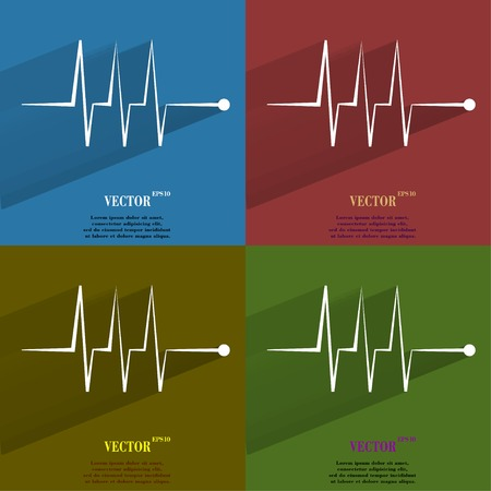 infarct: Color set heart rhythm. Flat modern web button with long shadow and space for your text. Vector.  Illustration