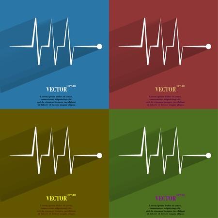 infarctus: Couleur d�finie rythme cardiaque. Appartement bouton web moderne avec une longue ombre et espace pour votre texte. Vector.