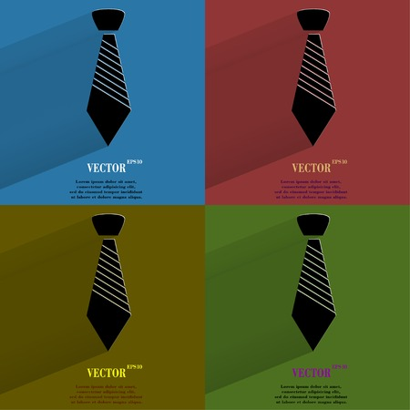 dresscode: Color set Hipster tie. Flat modern web button with long shadow and space for your text. Vector.