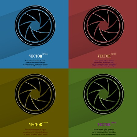 Color set Photo camera diaphragm. Flat modern web button with long shadow and space for your text. Vector.  Vector