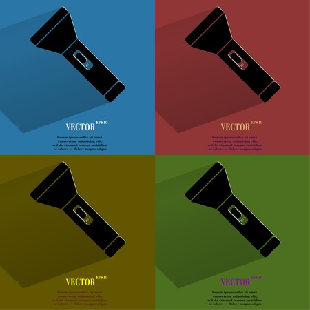Color set Flashlight . Flat modern web button with long shadow and space for your text. Vector.  Vector