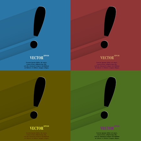Color set The exclamation point. Flat modern web button with long shadow and space for your text. Vector.