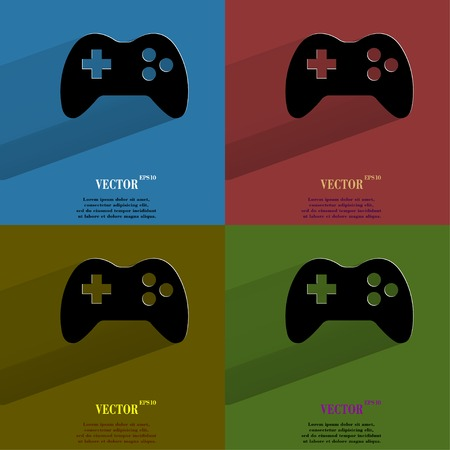 Color set Gaming Joystick. Flat modern web button with long shadow and space for your text. Vector.  Vector