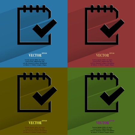 folio: Color set Notepad paper Documents  Flat modern web button with long shadow and space for your text  Vector   Illustration