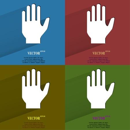 area restringida: Establecer mano de detenci�n de color bot�n web moderno plana con larga sombra y el espacio para el texto Vector