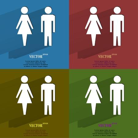hommes et femmes: Couleur mis suluet hommes, femmes plat bouton web moderne avec une longue ombre et de l'espace pour votre texte Vecteur