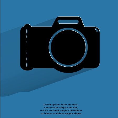 photocamera: Photo camera .Flat modern web button with long shadow and space for your text. .  Stock Photo