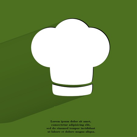 cook out: Chef cap. Cooking Flat modern web button with long shadow and space for your text. .