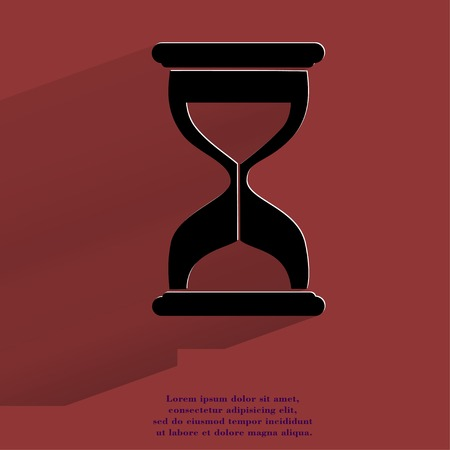 metering: Sand clock. Glass timer Flat modern web button with long shadow and space for your text. .  Stock Photo