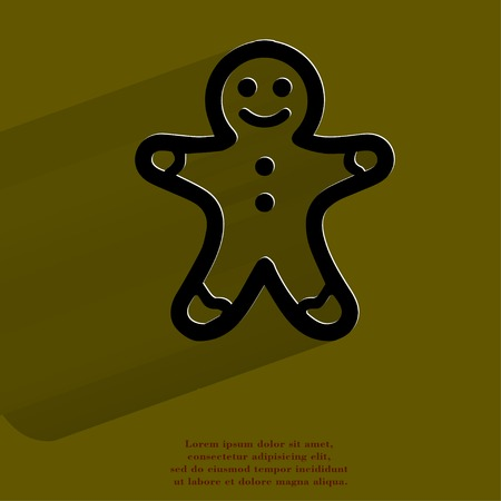 Gingerbread. Flat modern web button with long shadow and space for your text. .  Stock Photo