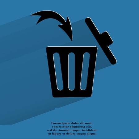 Trash bin. Flat modern web button with long shadow and space for your text. .  photo