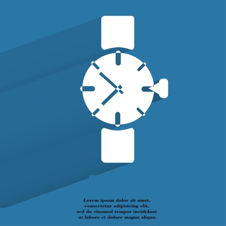 Watch,clock Flat modern web button with long shadow and space for your text. .  photo