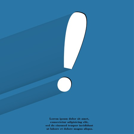 The exclamation point. Flat modern web button with long shadow and space for your text. .