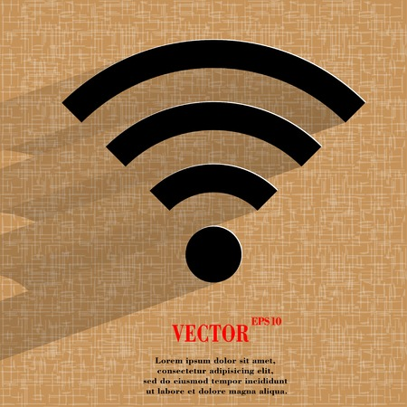 wireless lan: WIFI. Flat modern web button with long shadow and space for your text. Vector.
